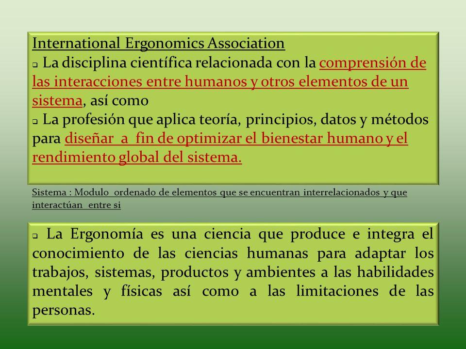 La Ergonomía es una ciencia que produce e integra el conocimiento de las ciencias humanas para adaptar los trabajos, sistemas, productos y ambientes a