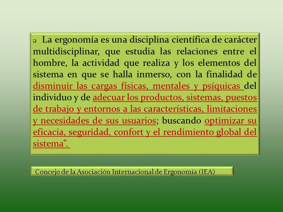 La ergonomía es una disciplina científica de carácter multidisciplinar, que estudia las relaciones entre el hombre, la actividad que realiza y los ele