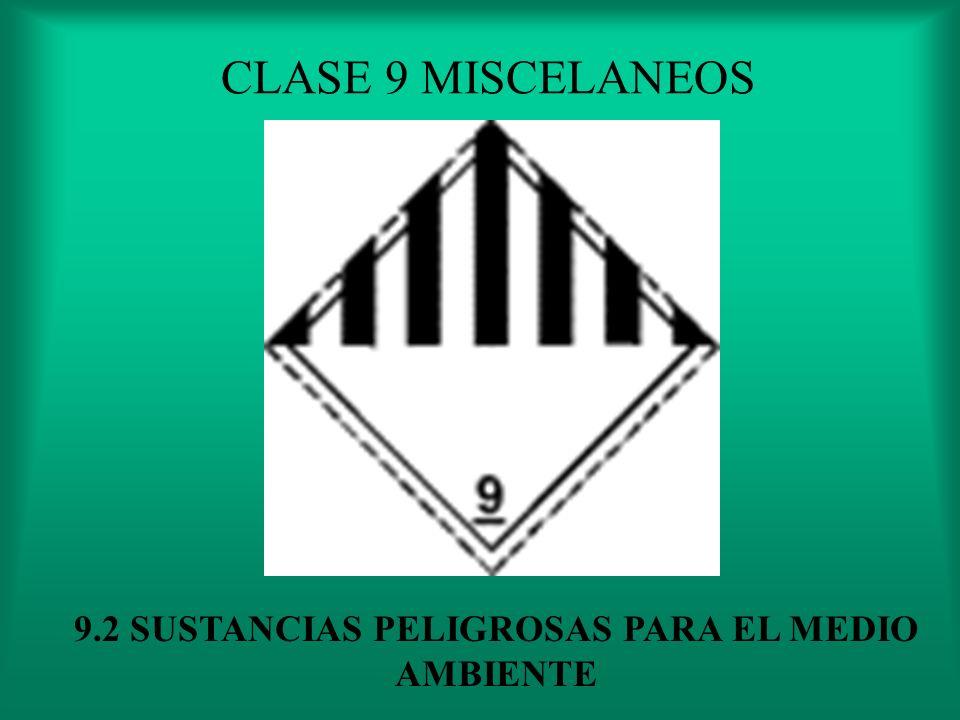 CLASE 9 MISCELANEOS 9.1 CARGA PELIGROSA ESTAN REGULADAS EN SU TRANSPORTE PERO NO PUEDE SER INCLUIDA EN NINGUNA DE LAS ANTERIORES