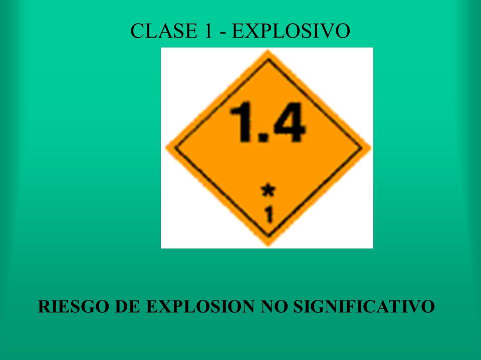 CLASE 1 - EXPLOSIVO 1.1 CON UN PELIGRO DE EXPLOSION EN MASA 1.2 CON UN RIESGO DE PROYECCION 1.3 CON RIESGO DE FUEGO PREDOMINANTE