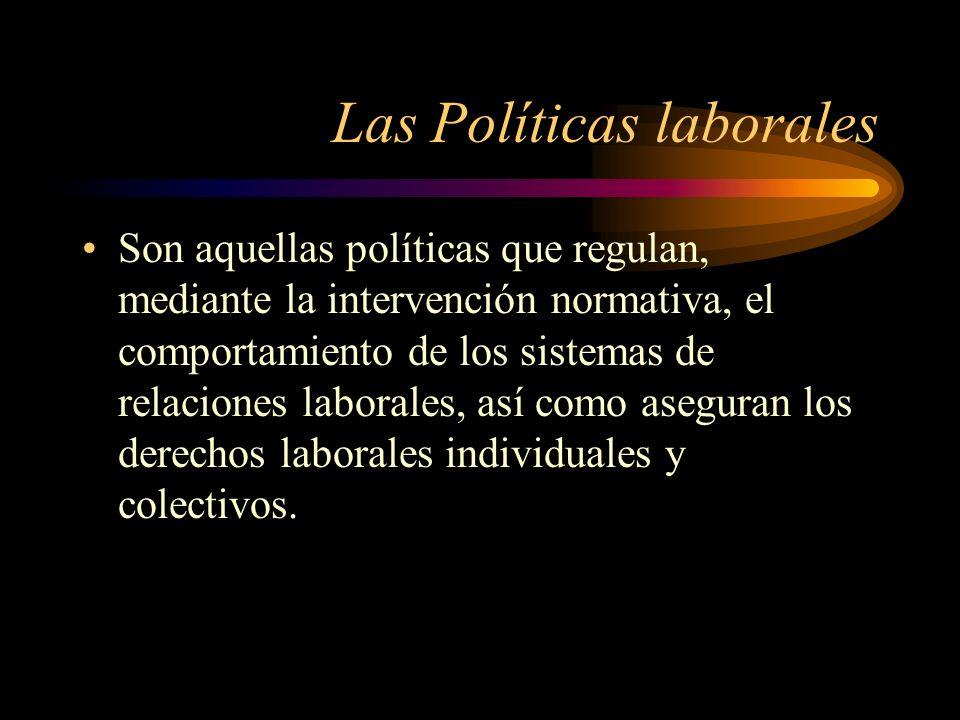 Las Políticas laborales Son aquellas políticas que regulan, mediante la intervención normativa, el comportamiento de los sistemas de relaciones labora