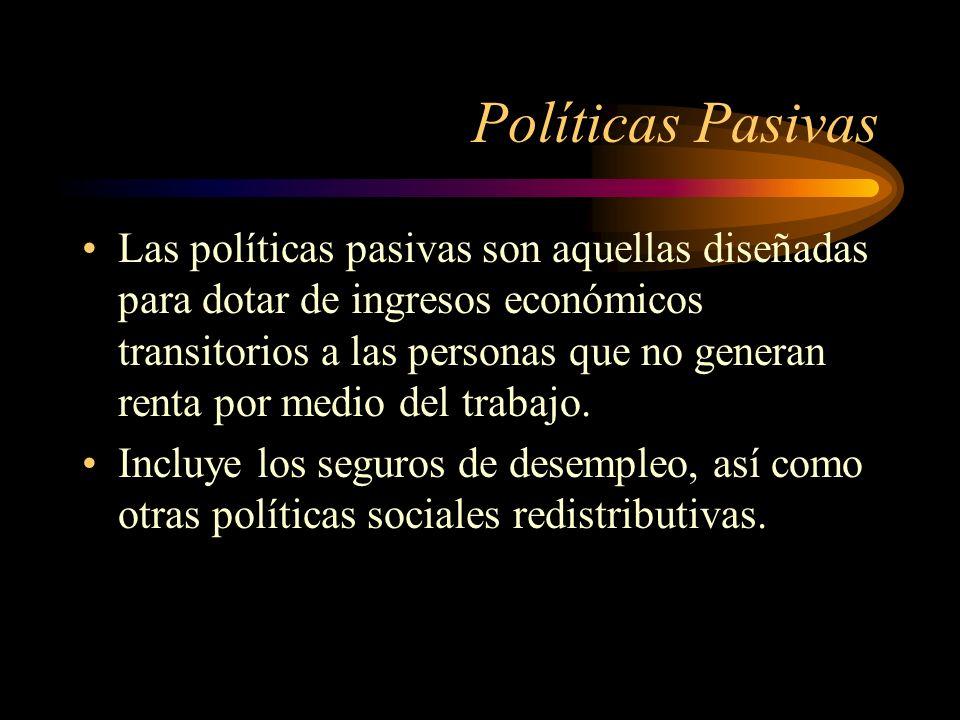 Políticas Pasivas Las políticas pasivas son aquellas diseñadas para dotar de ingresos económicos transitorios a las personas que no generan renta por