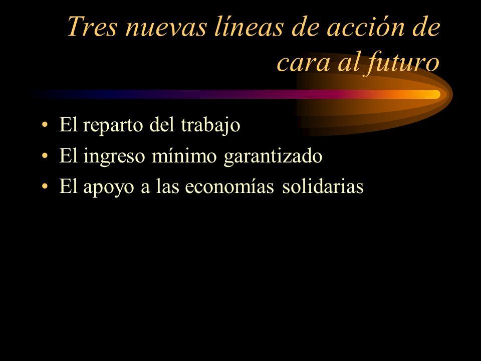 Tres nuevas líneas de acción de cara al futuro El reparto del trabajo El ingreso mínimo garantizado El apoyo a las economías solidarias