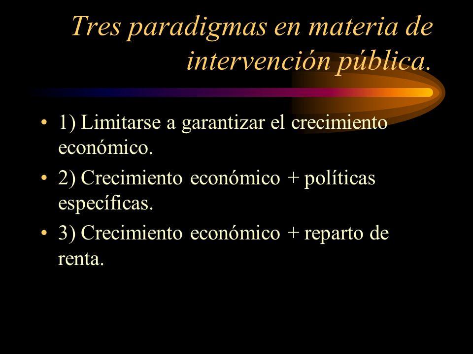 Tres paradigmas en materia de intervención pública. 1) Limitarse a garantizar el crecimiento económico. 2) Crecimiento económico + políticas específic