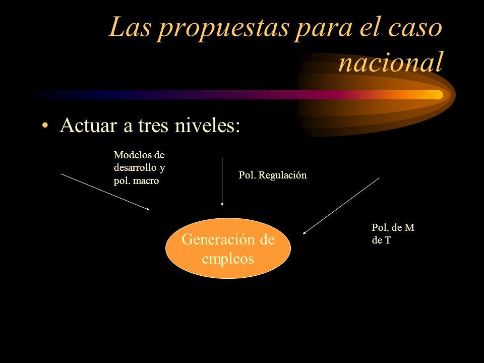 Las propuestas para el caso nacional Actuar a tres niveles: Generación de empleos Modelos de desarrollo y pol. macro Pol. Regulación Pol. de M de T