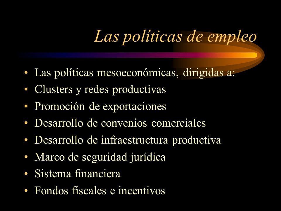 Las políticas de empleo Las políticas mesoeconómicas, dirigidas a: Clusters y redes productivas Promoción de exportaciones Desarrollo de convenios com