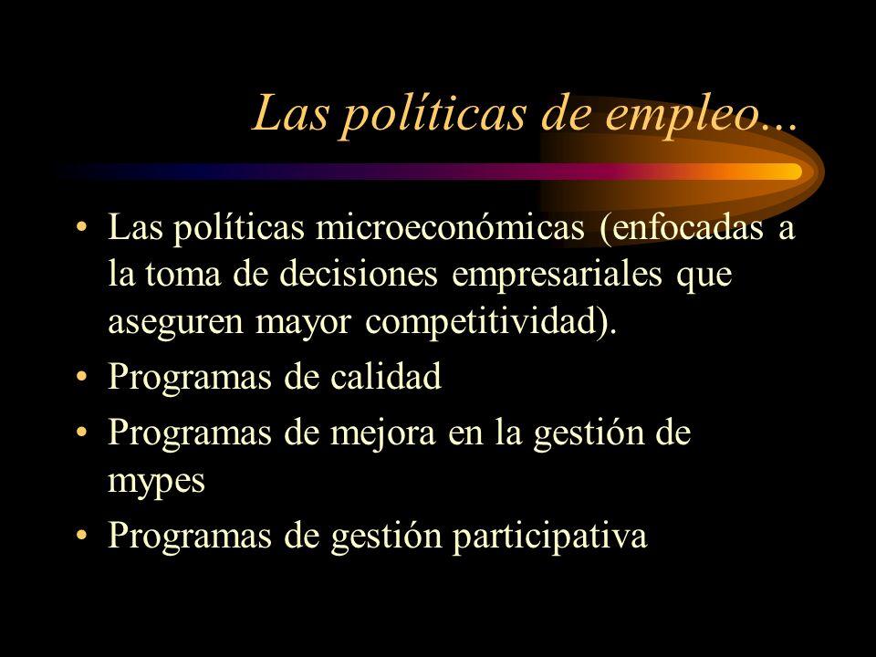 Las políticas de empleo... Las políticas microeconómicas (enfocadas a la toma de decisiones empresariales que aseguren mayor competitividad). Programa