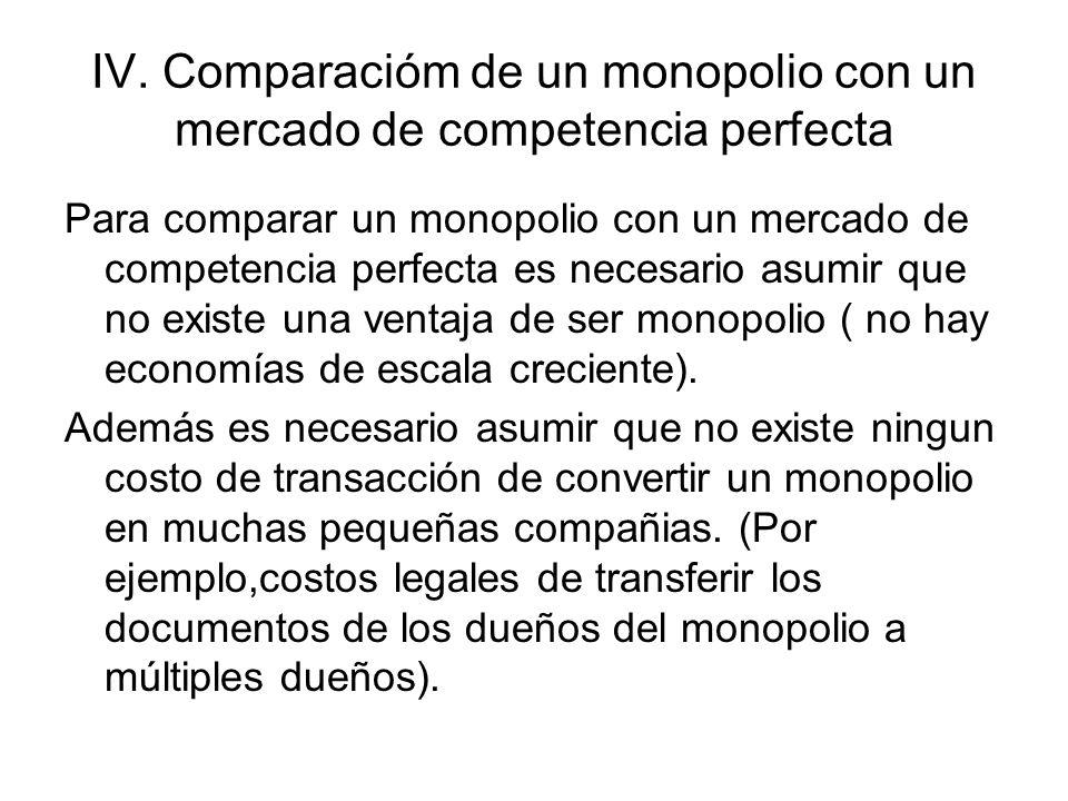 Comparación de un monopolio con un mercado de competencia perfecta El monopolio fija el nivel de producción menor que un mercado competitivo y cobra un precio mayor