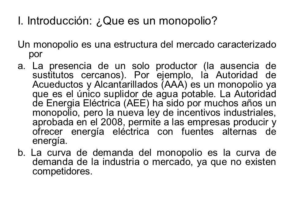 I.Introducción: ¿Que es un monopolio. b.