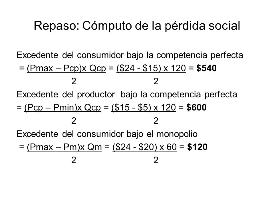 Repaso: Cómputo de la pérdida social Excedente del productor bajo el monopolio = (Pm – Cm)x Qm + (Cm – Pmin)x Qm 2 = ($20 - $10) x 60 + ($10 - $5) = $750 2 Pérdida social = (Pm – Cm) x (Qcp – Qm) 2 = ($20 - $10) x (120 – 60) = $300 2