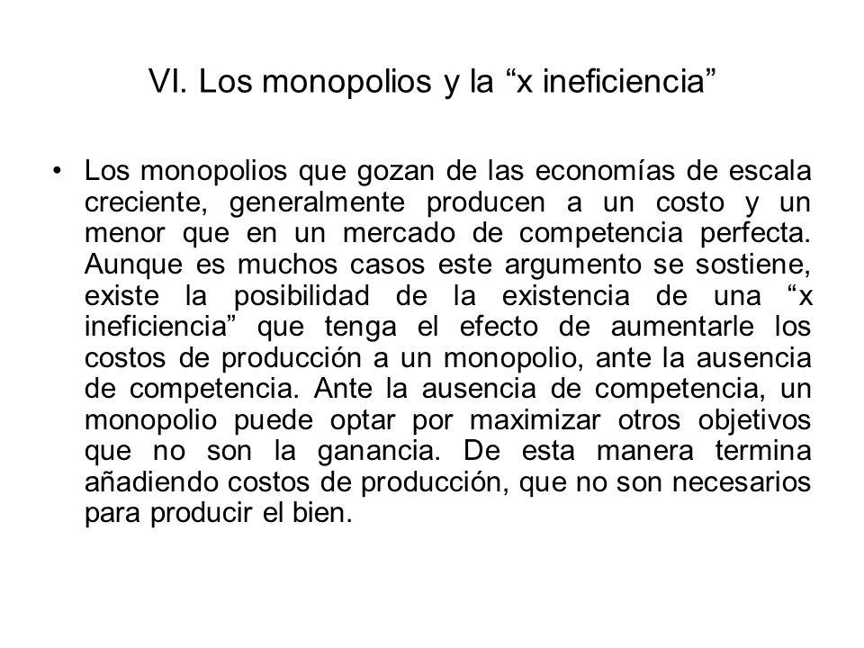 VI.Los monopolios y la x ineficiencia ¿Que otros objetivos pueden maximizar un monopolio.