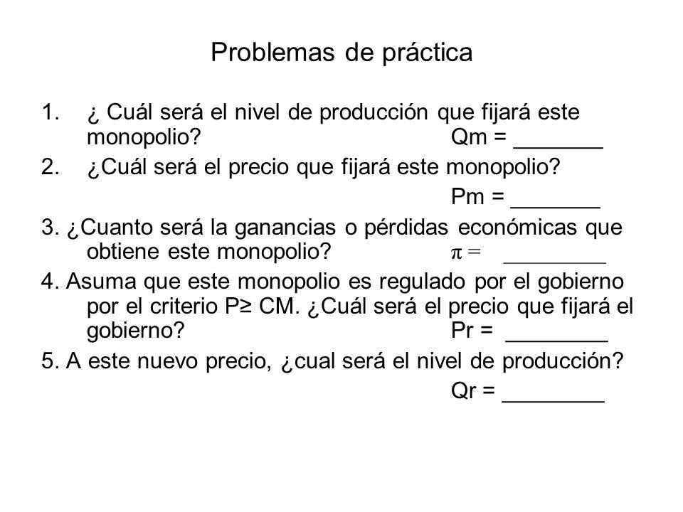 Problemas de práctica Utilice la siguiente gráfica para contestar las preguntas Qm = 25 Qcp = 50