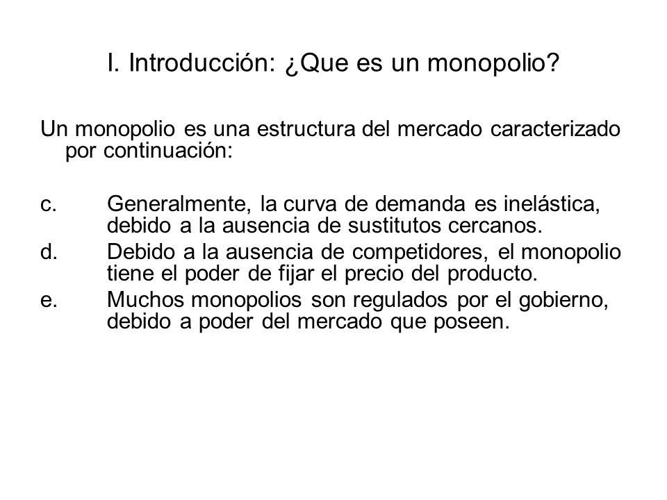 II.Ingreso marginal y el precio bajo un monopolio.