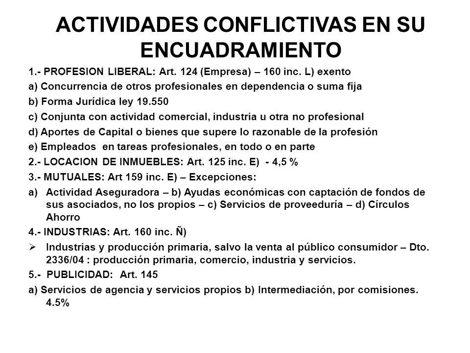 ACTIVIDADES CONFLICTIVAS EN SU ENCUADRAMIENTO 1.- PROFESION LIBERAL: Art. 124 (Empresa) – 160 inc. L) exento a) Concurrencia de otros profesionales en