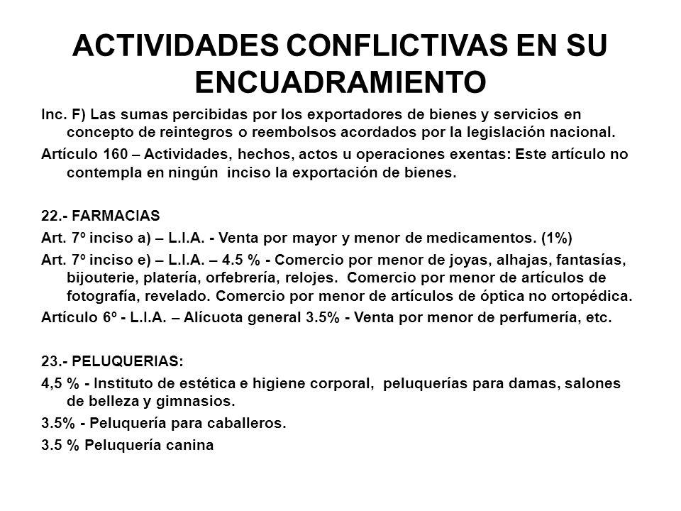 ACTIVIDADES CONFLICTIVAS EN SU ENCUADRAMIENTO Inc. F) Las sumas percibidas por los exportadores de bienes y servicios en concepto de reintegros o reem