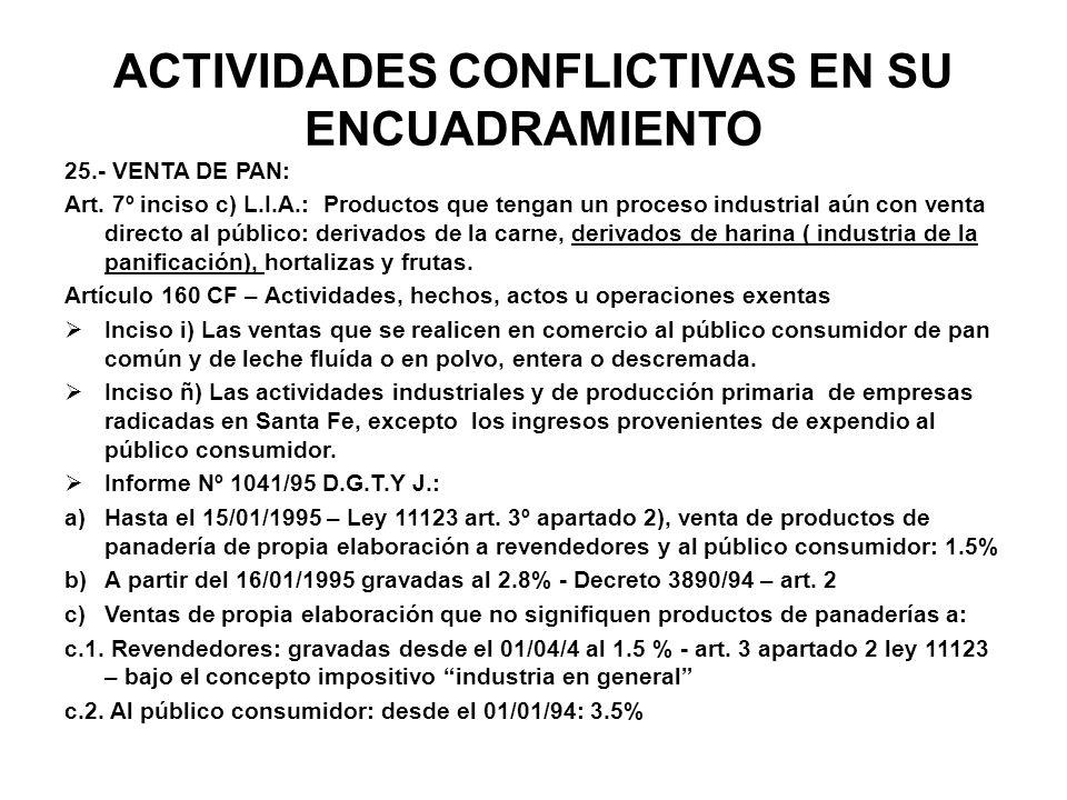 ACTIVIDADES CONFLICTIVAS EN SU ENCUADRAMIENTO 25.- VENTA DE PAN: Art. 7º inciso c) L.I.A.: Productos que tengan un proceso industrial aún con venta di