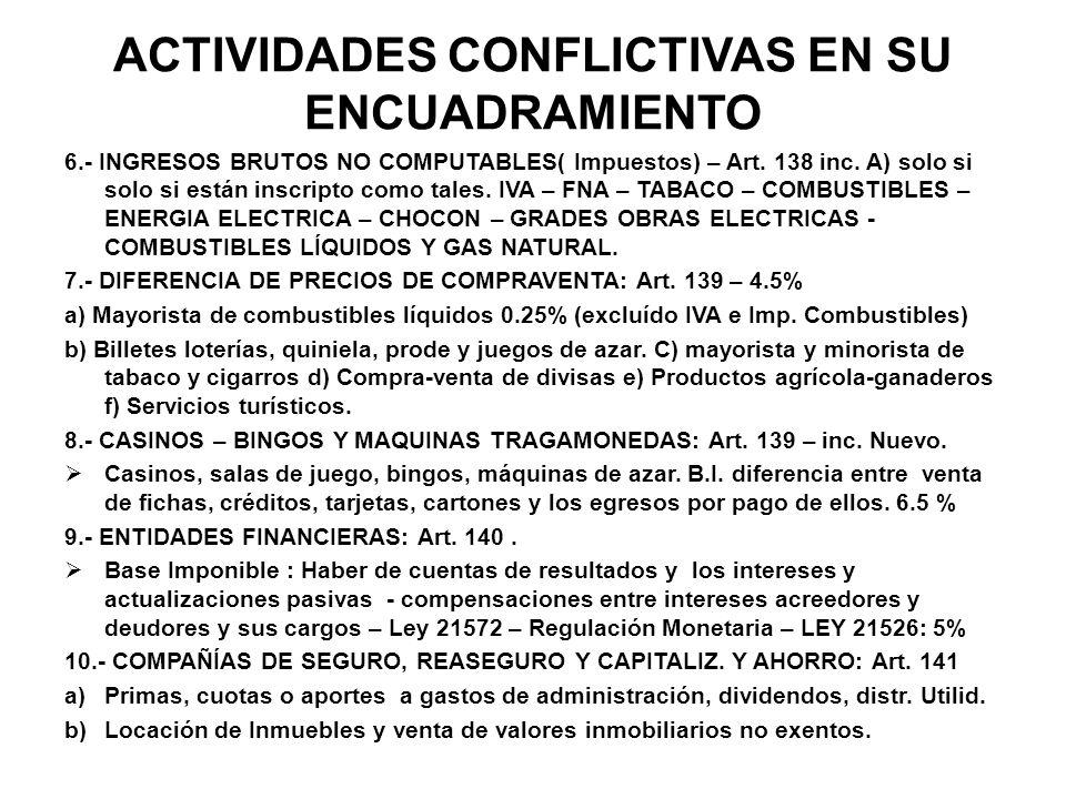 ACTIVIDADES CONFLICTIVAS EN SU ENCUADRAMIENTO 6.- INGRESOS BRUTOS NO COMPUTABLES( Impuestos) – Art. 138 inc. A) solo si solo si están inscripto como t