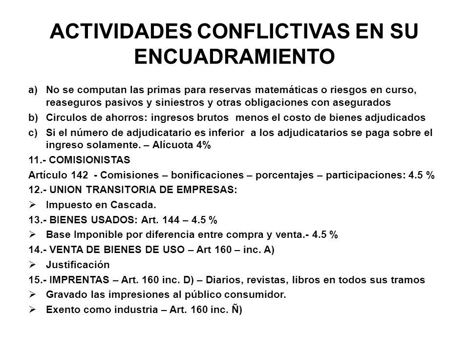 ACTIVIDADES CONFLICTIVAS EN SU ENCUADRAMIENTO a)No se computan las primas para reservas matemáticas o riesgos en curso, reaseguros pasivos y siniestro