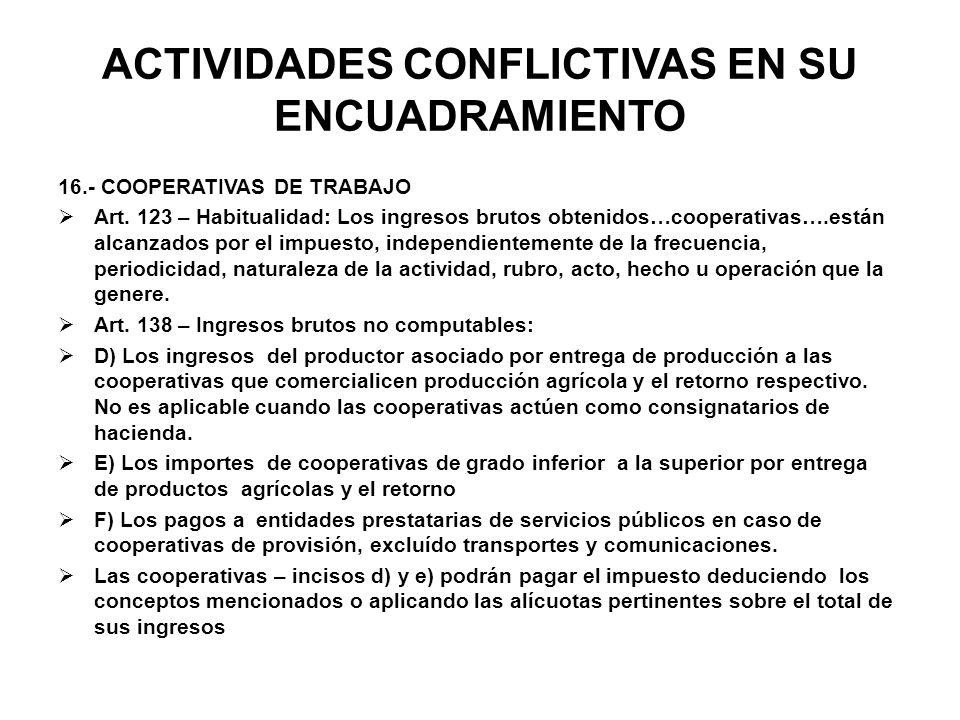 ACTIVIDADES CONFLICTIVAS EN SU ENCUADRAMIENTO 16.- COOPERATIVAS DE TRABAJO Art. 123 – Habitualidad: Los ingresos brutos obtenidos…cooperativas….están