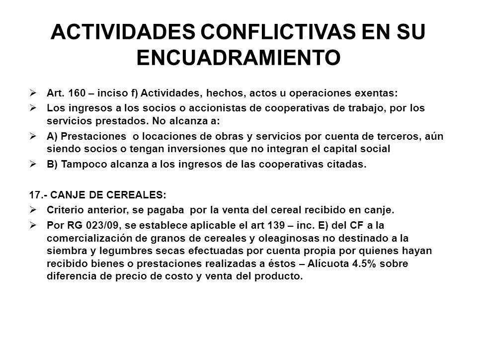 ACTIVIDADES CONFLICTIVAS EN SU ENCUADRAMIENTO Art. 160 – inciso f) Actividades, hechos, actos u operaciones exentas: Los ingresos a los socios o accio