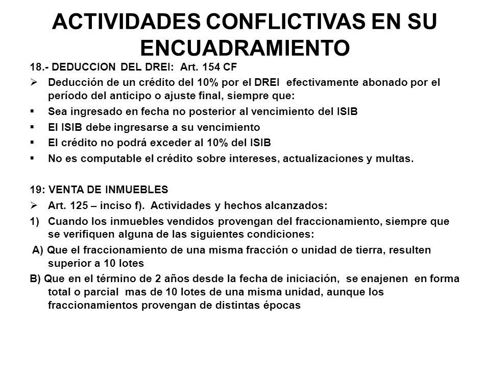 ACTIVIDADES CONFLICTIVAS EN SU ENCUADRAMIENTO 18.- DEDUCCION DEL DREI: Art. 154 CF Deducción de un crédito del 10% por el DREI efectivamente abonado p