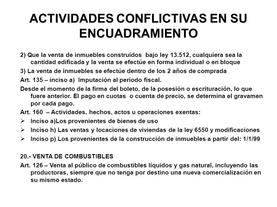 ACTIVIDADES CONFLICTIVAS EN SU ENCUADRAMIENTO 2) Que la venta de inmuebles construídos bajo ley 13.512, cualquiera sea la cantidad edificada y la vent