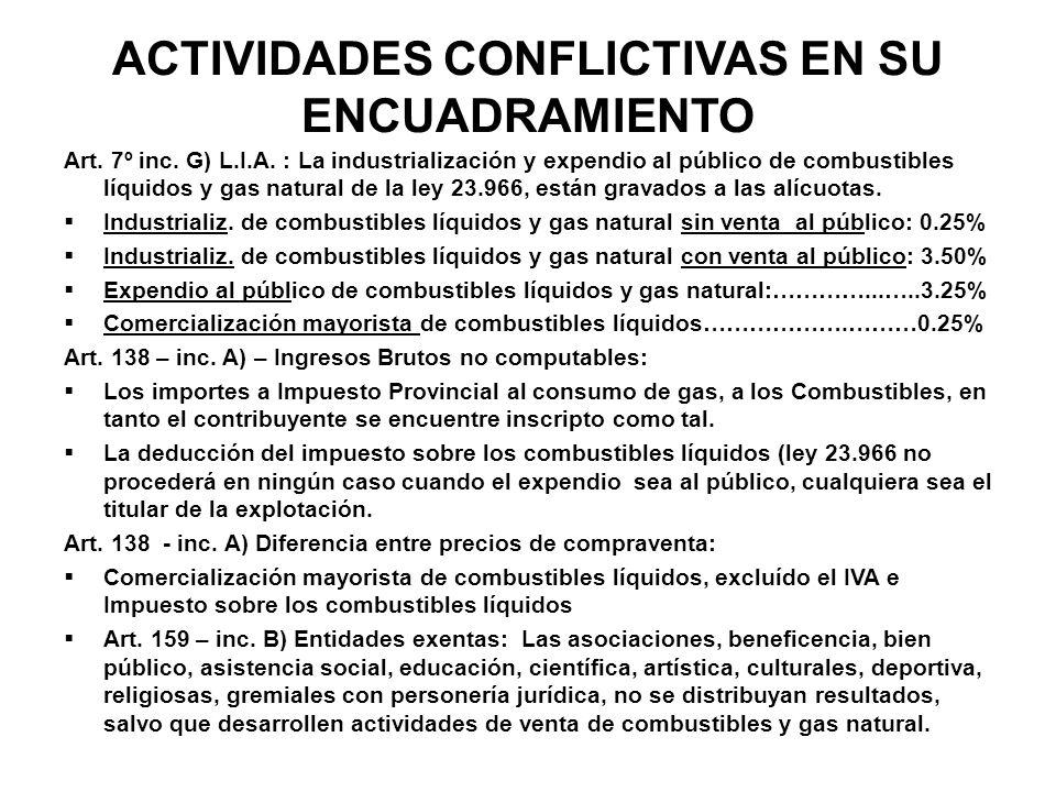 ACTIVIDADES CONFLICTIVAS EN SU ENCUADRAMIENTO Art. 7º inc. G) L.I.A. : La industrialización y expendio al público de combustibles líquidos y gas natur