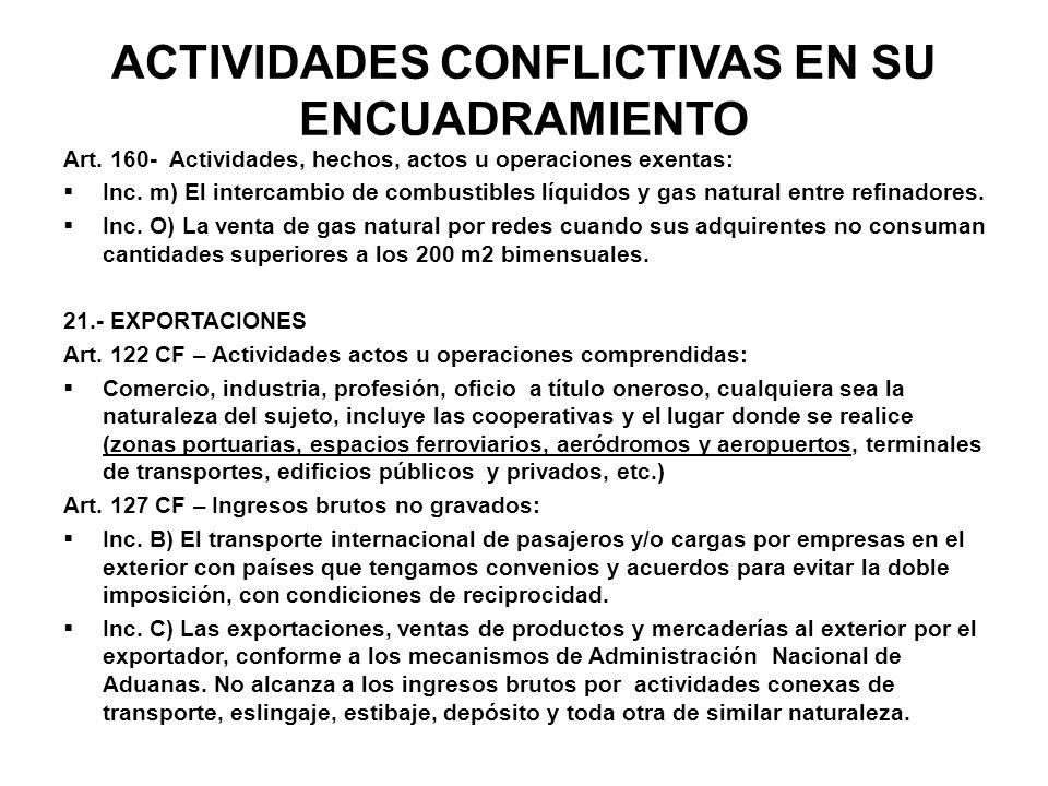 ACTIVIDADES CONFLICTIVAS EN SU ENCUADRAMIENTO Art. 160- Actividades, hechos, actos u operaciones exentas: Inc. m) El intercambio de combustibles líqui