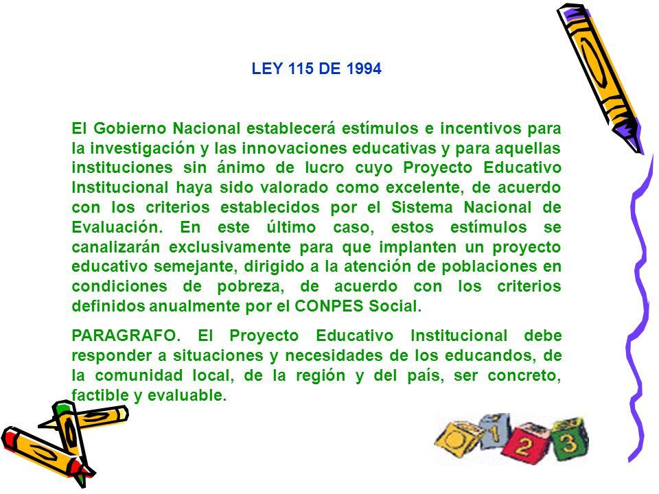 LEY 115 DE 1994 El Gobierno Nacional establecerá estímulos e incentivos para la investigación y las innovaciones educativas y para aquellas institucio