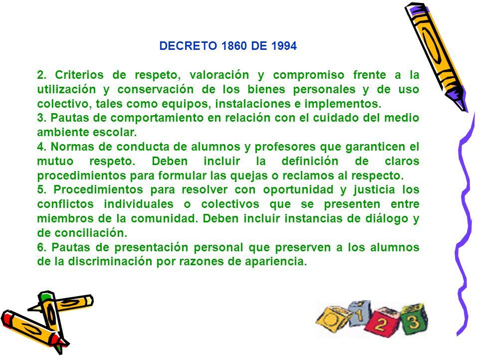 DECRETO 1860 DE 1994 2. Criterios de respeto, valoración y compromiso frente a la utilización y conservación de los bienes personales y de uso colecti