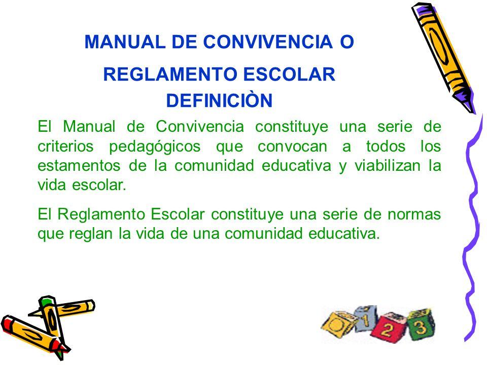 MANUAL DE CONVIVENCIA O REGLAMENTO ESCOLAR DEFINICIÒN El Manual de Convivencia constituye una serie de criterios pedagógicos que convocan a todos los