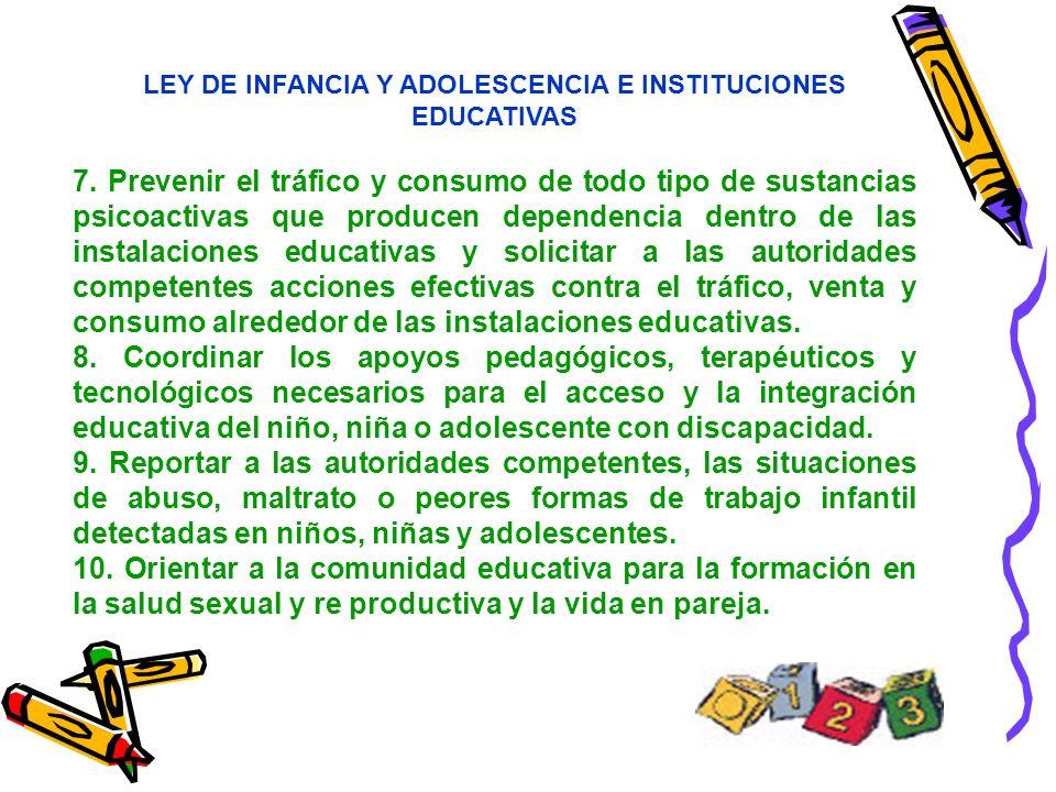 LEY DE INFANCIA Y ADOLESCENCIA E INSTITUCIONES EDUCATIVAS 7. Prevenir el tráfico y consumo de todo tipo de sustancias psicoactivas que producen depend