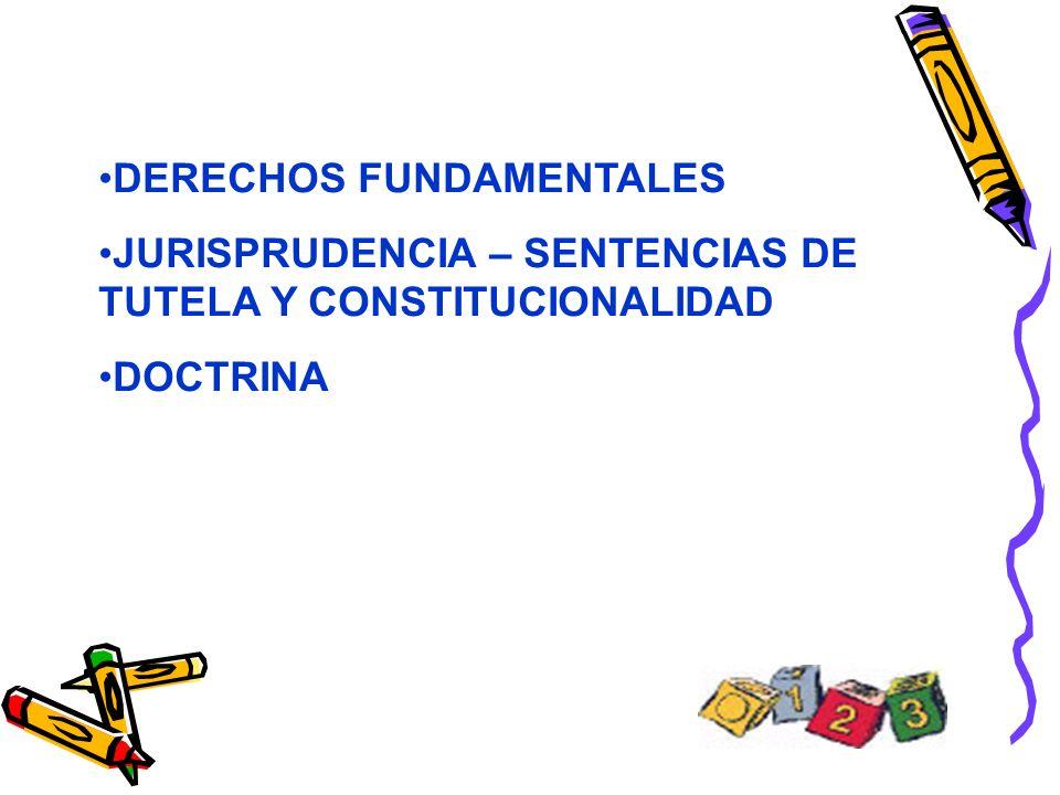 DERECHOS FUNDAMENTALES JURISPRUDENCIA – SENTENCIAS DE TUTELA Y CONSTITUCIONALIDAD DOCTRINA