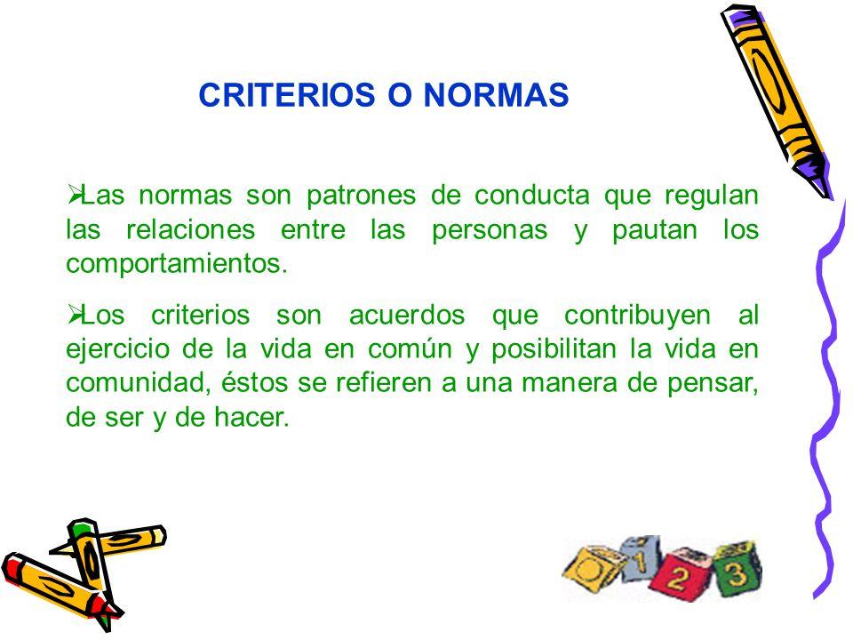 CRITERIOS O NORMAS Las normas son patrones de conducta que regulan las relaciones entre las personas y pautan los comportamientos. Los criterios son a