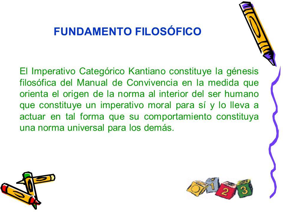FUNDAMENTO FILOSÓFICO El Imperativo Categórico Kantiano constituye la génesis filosófica del Manual de Convivencia en la medida que orienta el origen