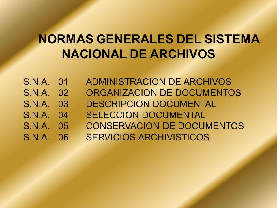NORMAS GENERALES DEL SISTEMA NACIONAL DE ARCHIVOS S.N.A.01ADMINISTRACION DE ARCHIVOS S.N.A.02ORGANIZACION DE DOCUMENTOS S.N.A.03DESCRIPCION DOCUMENTAL