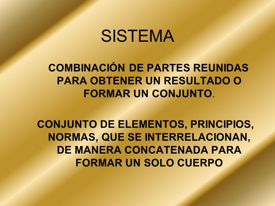 SISTEMA COMBINACIÓN DE PARTES REUNIDAS PARA OBTENER UN RESULTADO O FORMAR UN CONJUNTO. CONJUNTO DE ELEMENTOS, PRINCIPIOS, NORMAS, QUE SE INTERRELACION