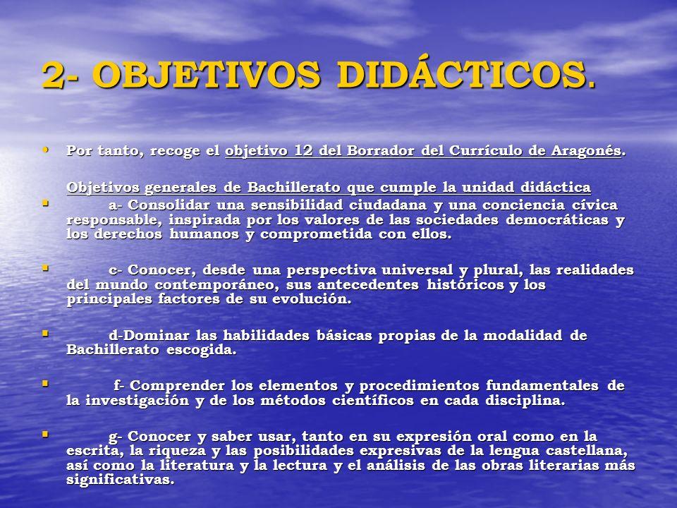 2- OBJETIVOS DIDÁCTICOS. Por tanto, recoge el objetivo 12 del Borrador del Currículo de Aragonés. Por tanto, recoge el objetivo 12 del Borrador del Cu