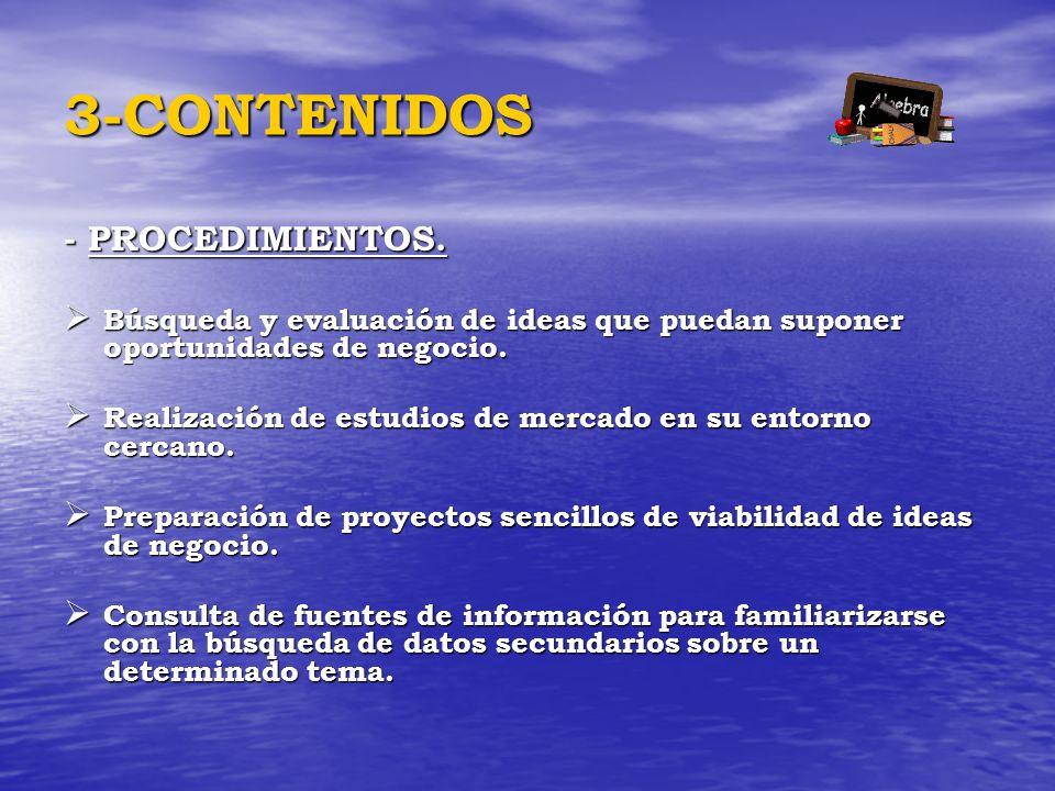 3-CONTENIDOS - PROCEDIMIENTOS. Búsqueda y evaluación de ideas que puedan suponer oportunidades de negocio. Búsqueda y evaluación de ideas que puedan s