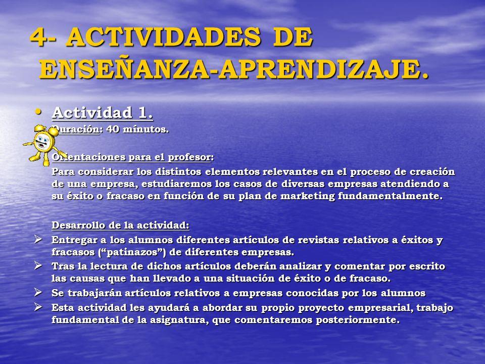 4- ACTIVIDADES DE ENSEÑANZA-APRENDIZAJE. Actividad 1. Actividad 1. Duración: 40 mínutos. Orientaciones para el profesor: Para considerar los distintos