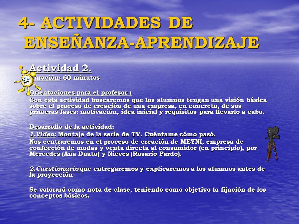 4- ACTIVIDADES DE ENSEÑANZA-APRENDIZAJE Actividad 2. Actividad 2. Duración: 60 minutos Orientaciones para el profesor : Con esta actividad buscaremos