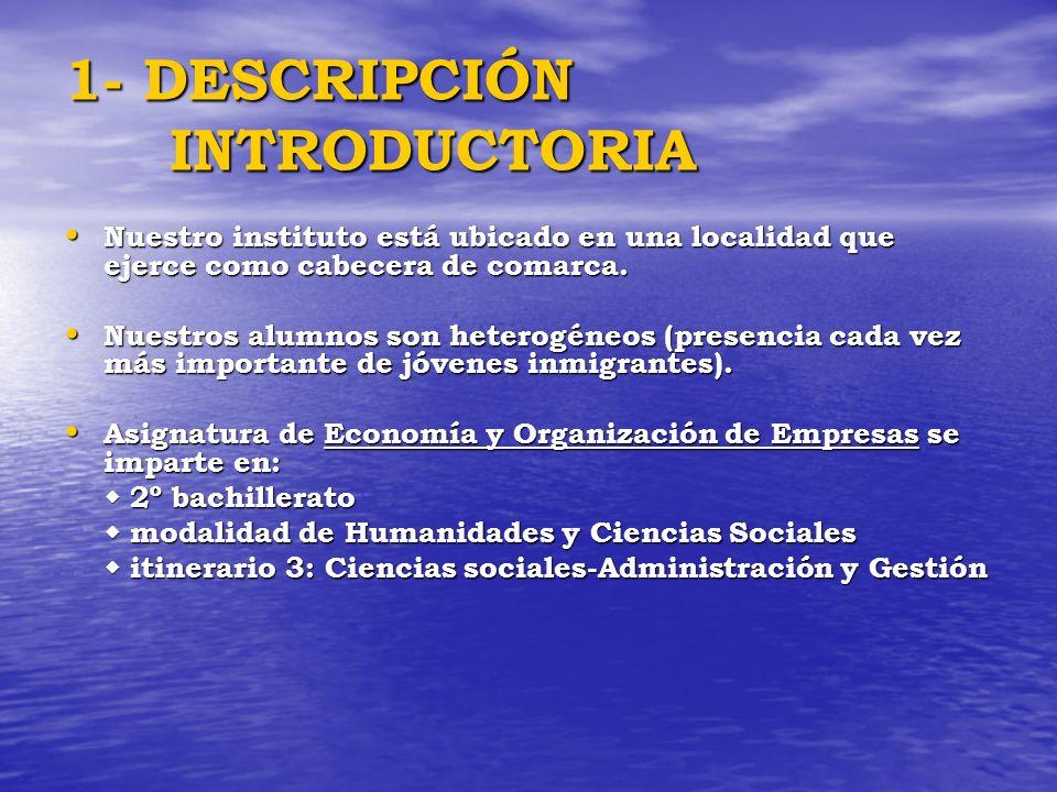 1- DESCRIPCIÓN INTRODUCTORIA Nuestro instituto está ubicado en una localidad que ejerce como cabecera de comarca. Nuestro instituto está ubicado en un