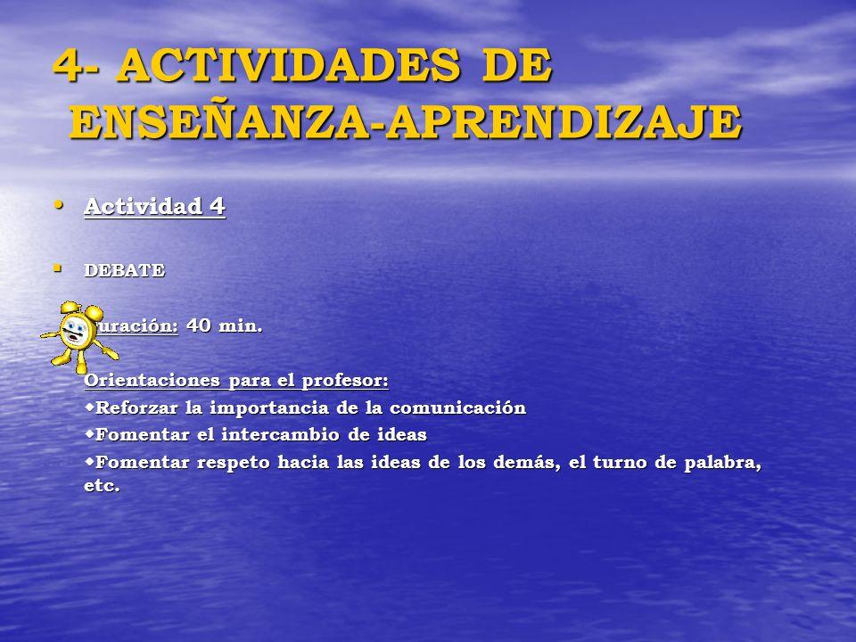 4- ACTIVIDADES DE ENSEÑANZA-APRENDIZAJE Actividad 4 Actividad 4 DEBATE DEBATE Duración: 40 min. Orientaciones para el profesor: Reforzar la importanci