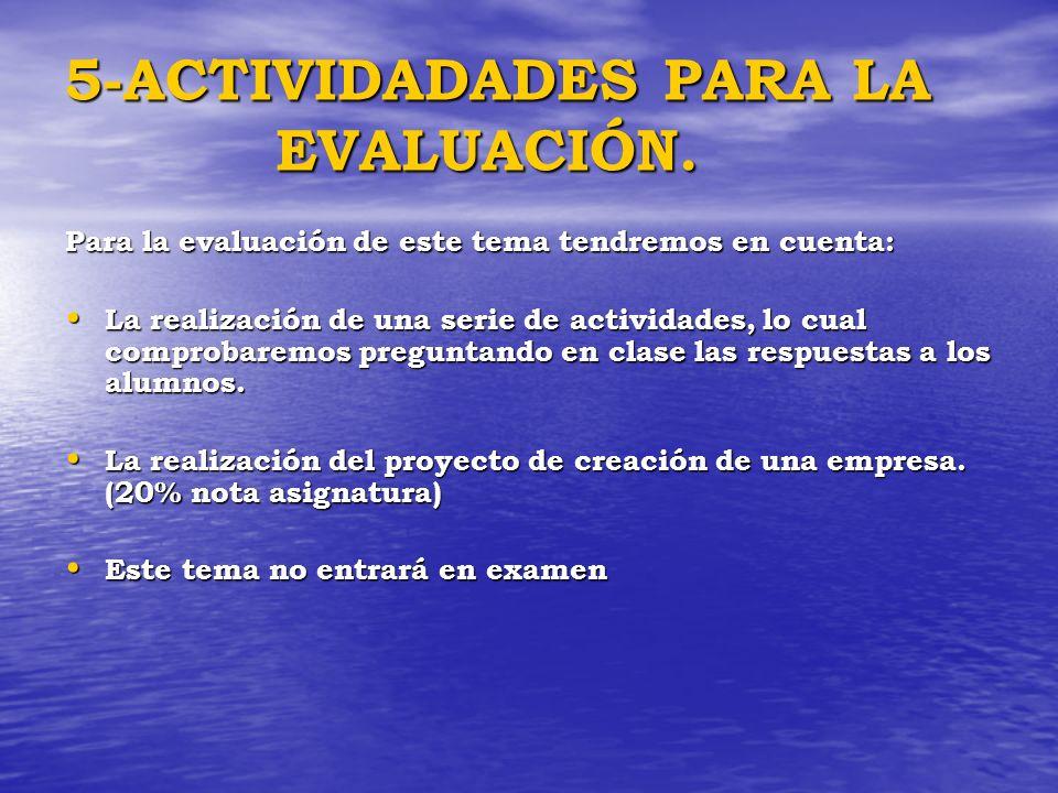 5-ACTIVIDADADES PARA LA EVALUACIÓN. Para la evaluación de este tema tendremos en cuenta: La realización de una serie de actividades, lo cual comprobar