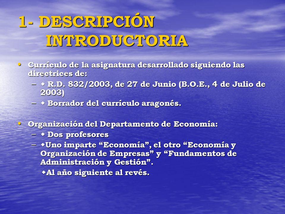 1- DESCRIPCIÓN INTRODUCTORIA Currículo de la asignatura desarrollado siguiendo las directrices de: Currículo de la asignatura desarrollado siguiendo l