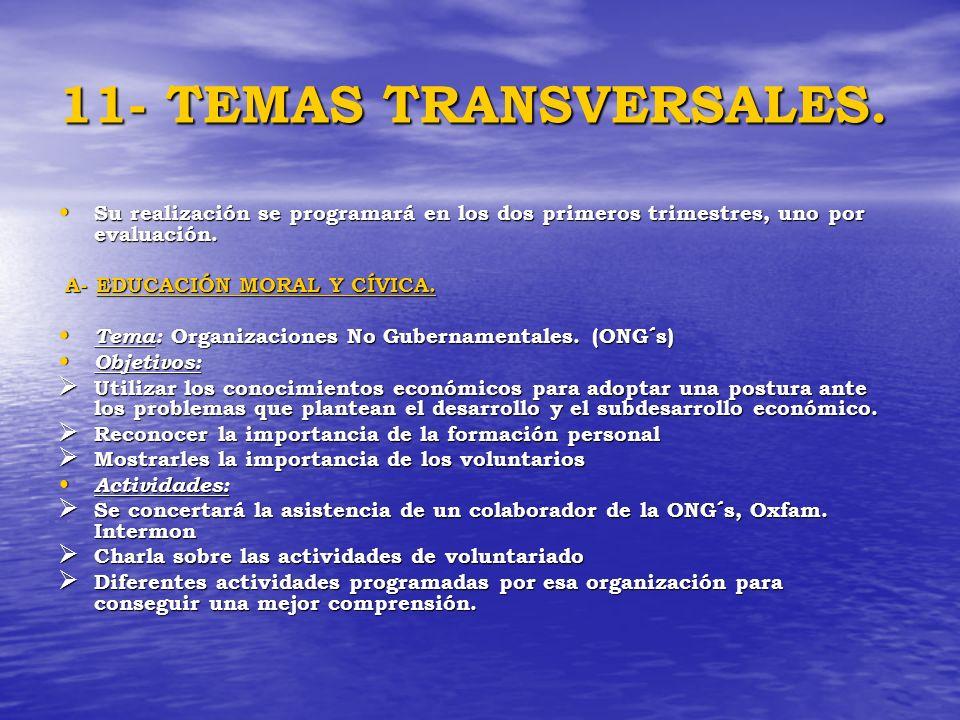 11- TEMAS TRANSVERSALES. Su realización se programará en los dos primeros trimestres, uno por evaluación. Su realización se programará en los dos prim