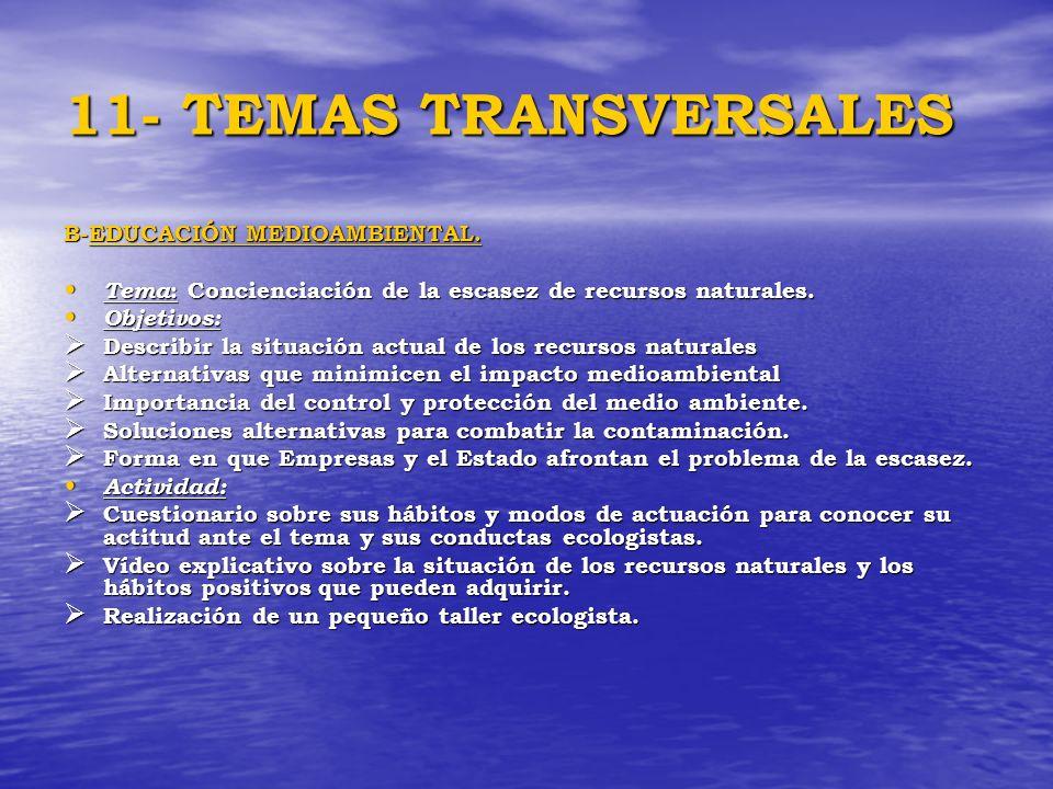 11- TEMAS TRANSVERSALES B-EDUCACIÓN MEDIOAMBIENTAL. Tema : Concienciación de la escasez de recursos naturales. Tema : Concienciación de la escasez de