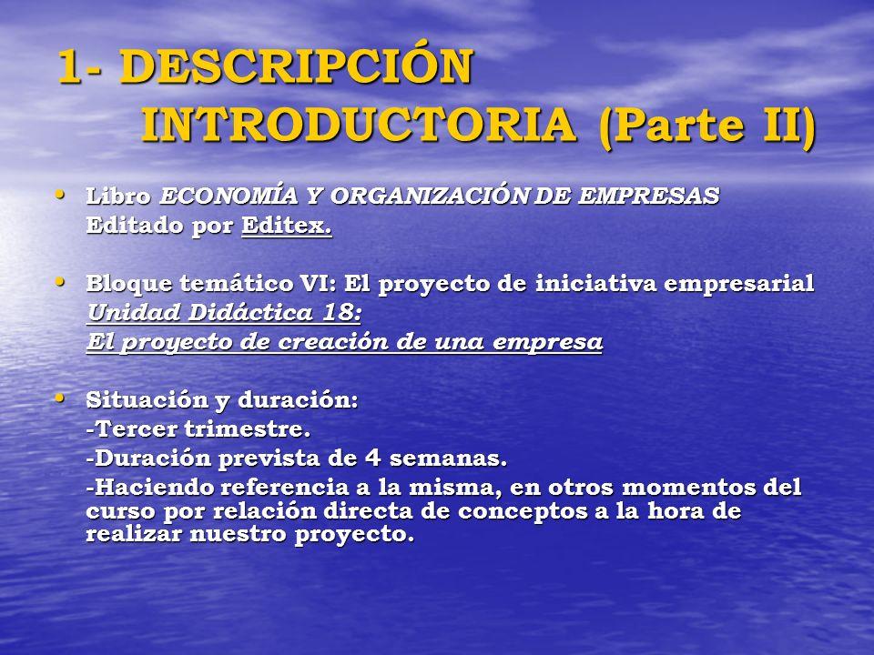 1- DESCRIPCIÓN INTRODUCTORIA (Parte II) Libro ECONOMÍA Y ORGANIZACIÓN DE EMPRESAS Libro ECONOMÍA Y ORGANIZACIÓN DE EMPRESAS Editado por Editex. Bloque