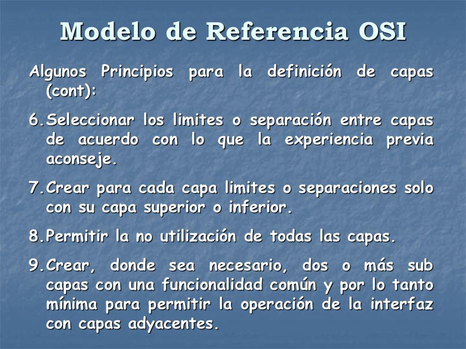 Modelo de Referencia OSI Algunos Principios para la definición de capas (cont): 6.Seleccionar los limites o separación entre capas de acuerdo con lo q