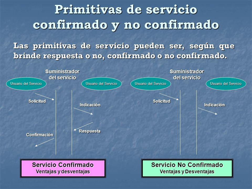 Primitivas de servicio confirmado y no confirmado Las primitivas de servicio pueden ser, según que brinde respuesta o no, confirmado o no confirmado.